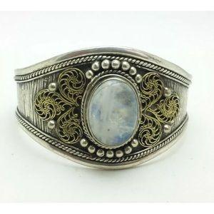 Oval Moonstone Sterling Silver 925 Cuff Bracelet
